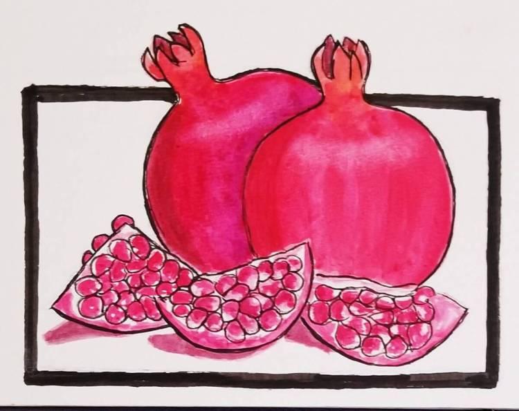 11/3/2017 Pomegranates #worldwatercolorgroup 20171101_151958
