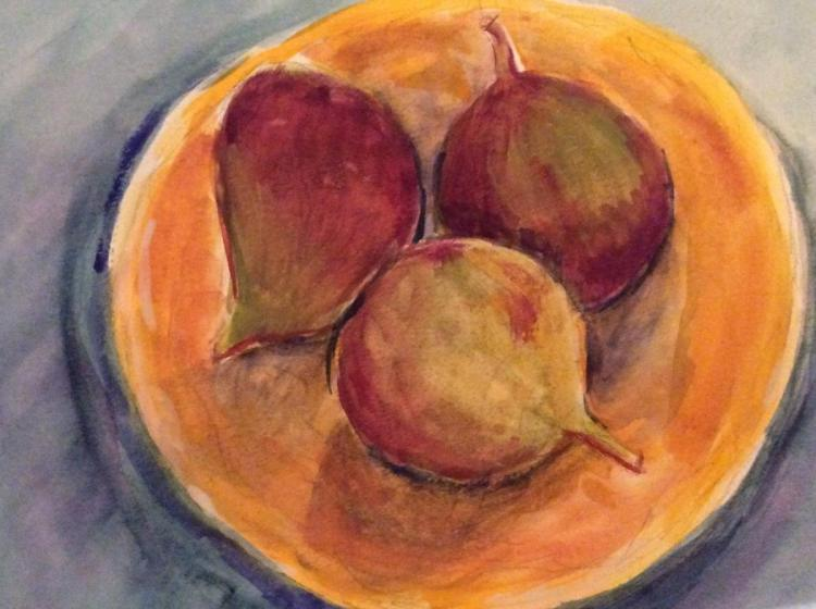 I'm catching up … here are my figs, apples & pomegranate. Excited to be linked to this t