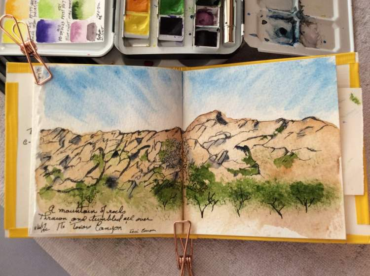 Still catching up on my travel sketches. This is Texas Canyon rest area and. 'Welcome to Arizo