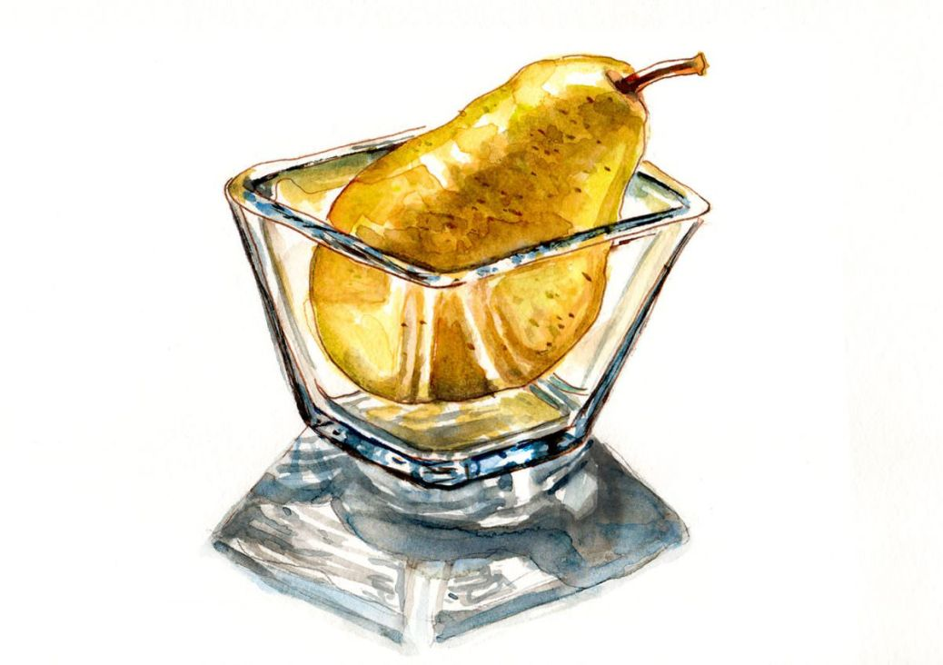 #WorldWatercolorGroup - A Pear In A Glass - Doodlewash