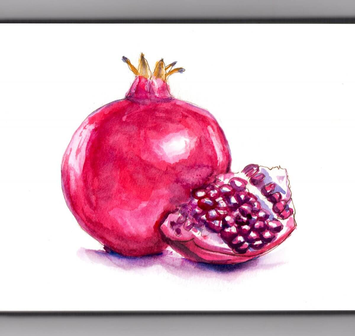 #WorldWatercolorGroup - Day 3 - Pomegranate Watercolor - Doodlewash