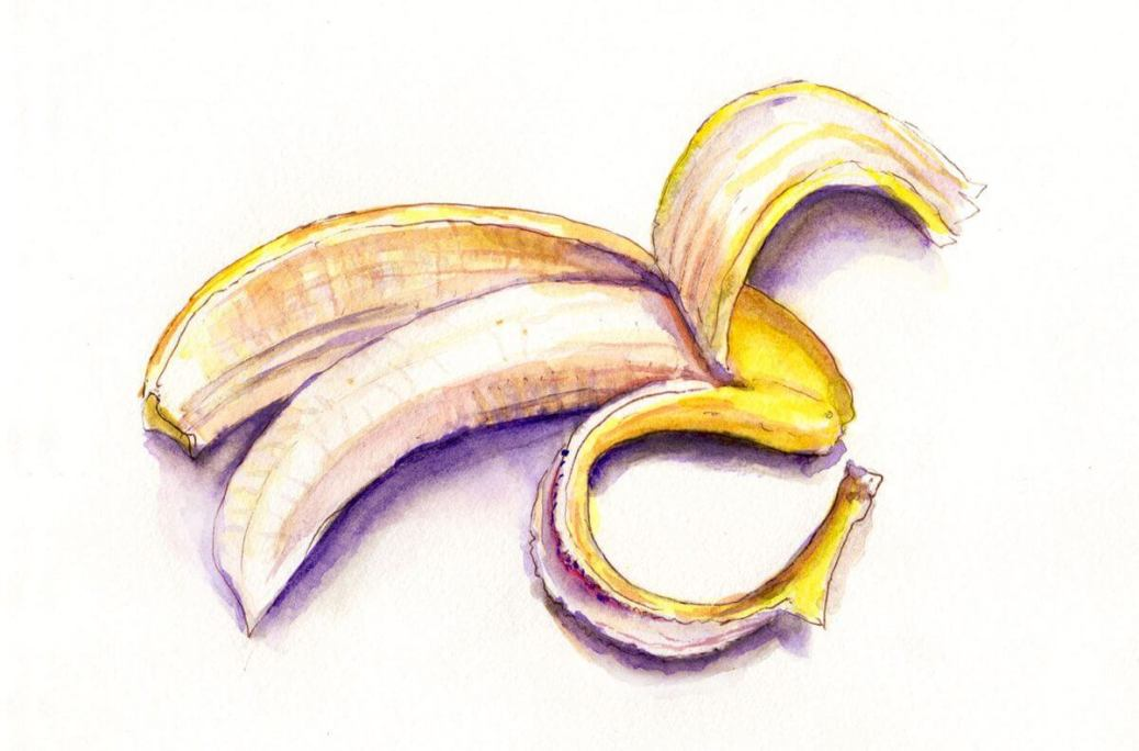 #WorldWatercolorGroup - Day 8 - Peeling A Banana - Doodlewash