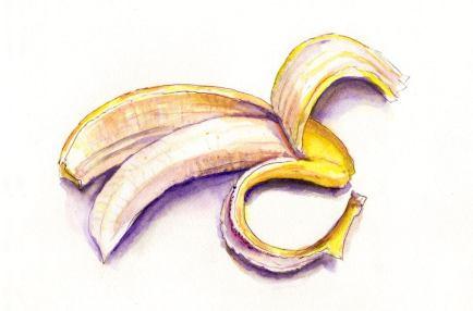 #WorldWatercolorGroup - Day 8 - Peeling A Banana - Doodlewash