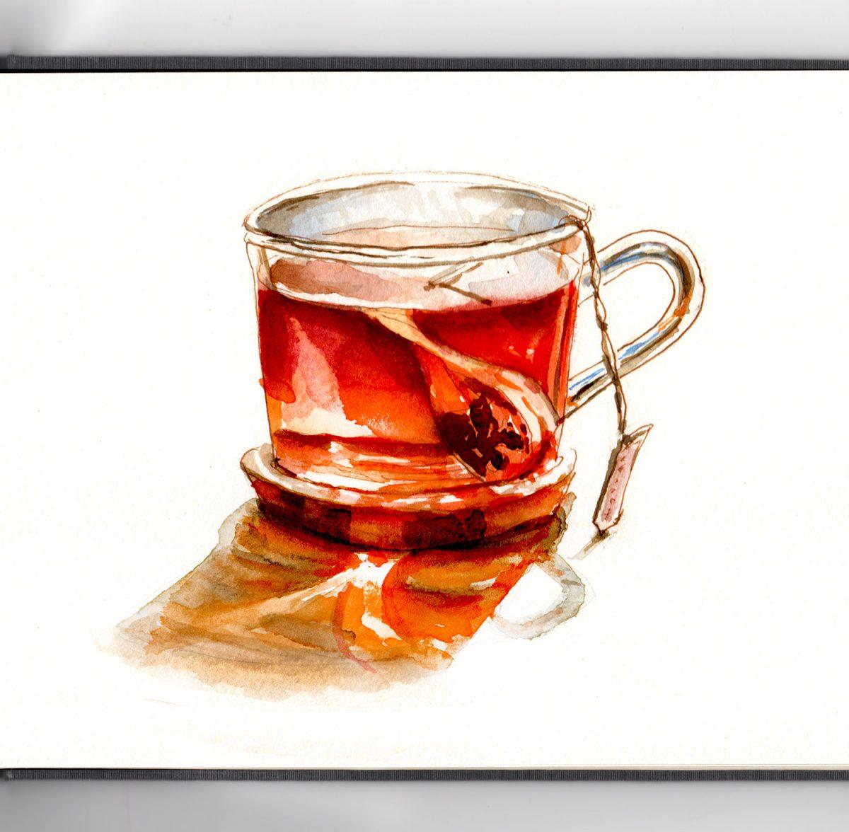 #WorldWatercolorGroup - Day 9 - Herbal Tea - Doodlewash