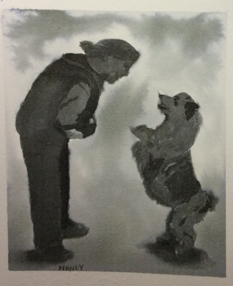 "I hope ink washes are ok here. My friend and her dog at their first ""dog dancing"" compet"