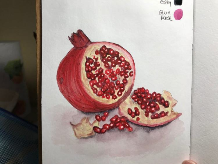 From a tutorial from a blog post on http://www.swatisinghstudio.com/ #Pomegranate #WorldWatercolorGr