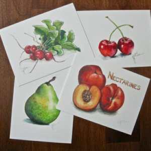 Set of 4 Limited Edition Print Fruit & Veg Postcards