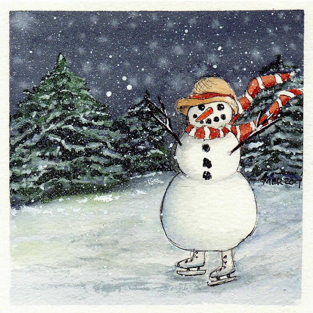 Still working on Christmas cards. Snowgirl on Skates img240 Marilynn
