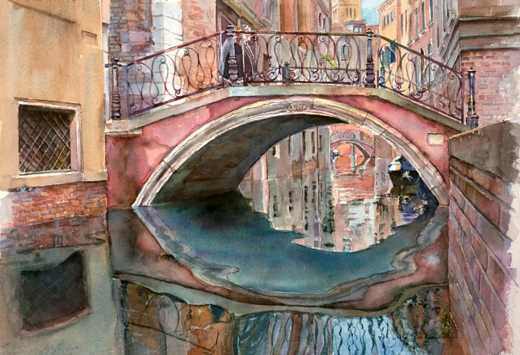 "#WorldWatercolorGroup - Watercolor by Helen K. Beacham - ""Venice: Over and Under"".  Watercolor in a Private Collection. Reproductions available. - Doodlewash"
