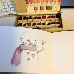 Today's NaSkeFiMo efforts. Hi, Snowman. May end up being cleaned up a bit for this year'