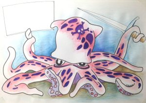 Opinionated Octopus – one of my Inktober creations – an experiment on several fronts for