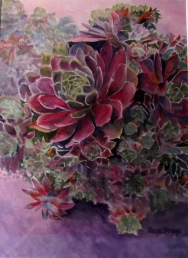 this watercolor of succulents (hens & chickens) is my favorite painting succculent