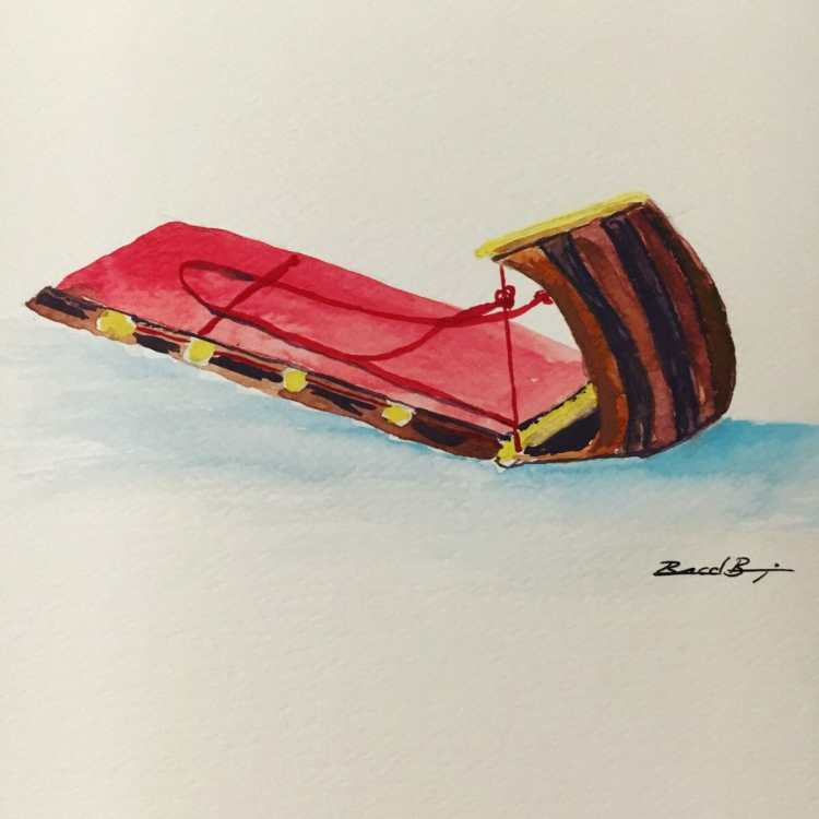 Day 27 – Sled – I had a Flexible Flyer as a kid, but I have always liked the toboggan-ty
