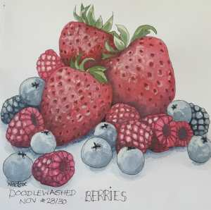 BERRIES ~ @doodlewashed 24/30. These berries were much harder to paint than they seem. I must have l