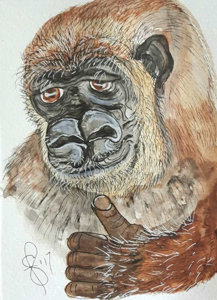 Gabby the Gorilla is giving someone the thumbs up for celebrating another birthday. Artist Susan Fen
