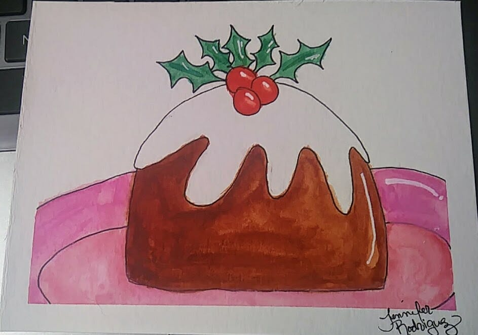 Day 9 pudding – #WorldWatercolorGroup some good ol' Christmas Pudding.- I have never tas