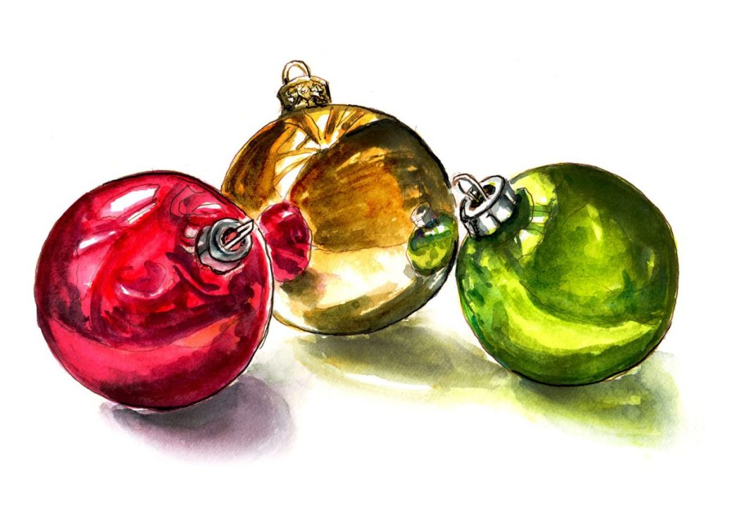 #WorldWatercolorGroup - Day 17 - Shiny Christmas Ornaments - Doodlewash