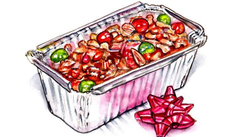 #WorldWatercolorGroup - Day 21 - A Gift Of Fruitcake - Doodlewash
