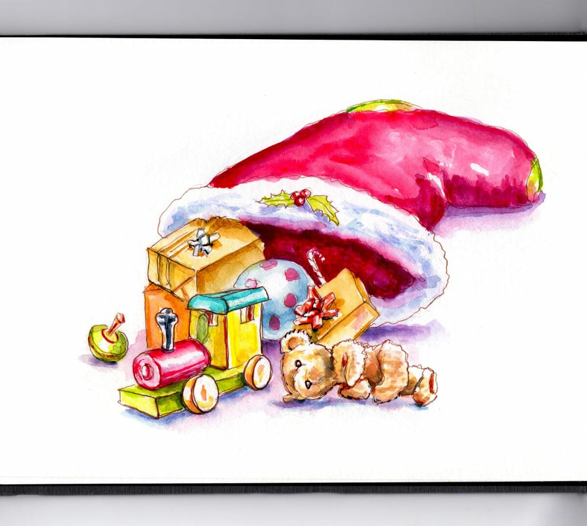 #WorldWatercolorGroup - Day 22 - Christmas Stocking with Toys - Doodlewash