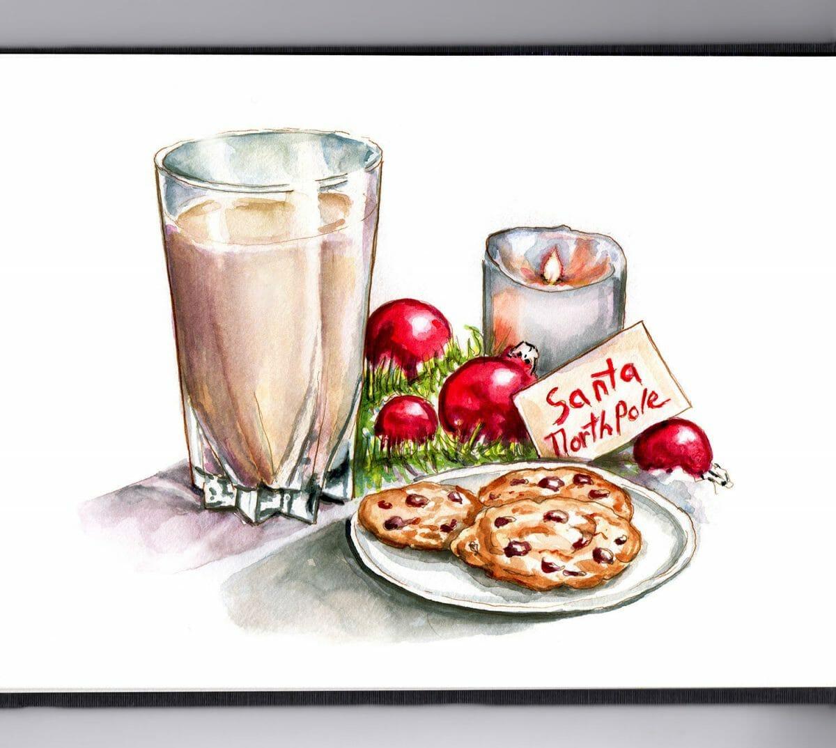 #WorldWatercolorGroup - Day 24 - Cookies For Santa - Doodlewash