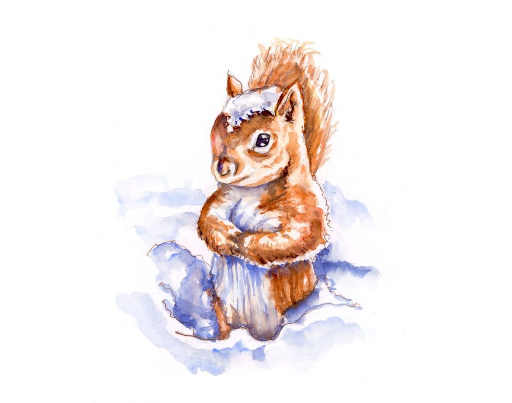 #WorldWatercolorGroup - Snow Day Squirrel - Doodlewash