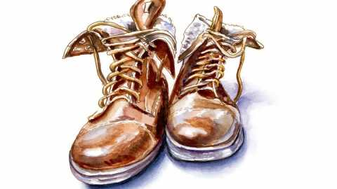 #WorldWatercolorGroup - Day 28 - Men In Boots for Winter - Doodlewash