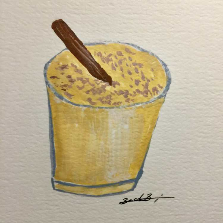 DAY 17 – Eggnog…heavy on the egg. It seemed simple LOL! #watercolorworld #eggnog E349100