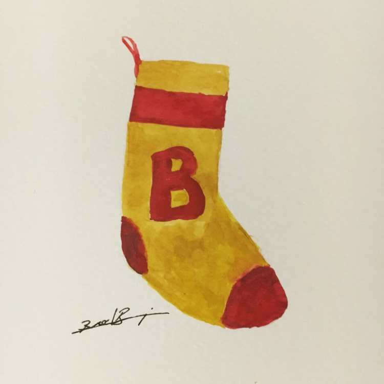 Day 22 – Simple stocking, or a borderline old sock. #worldwatercolorgroup #stocking E4C3BFE0-8