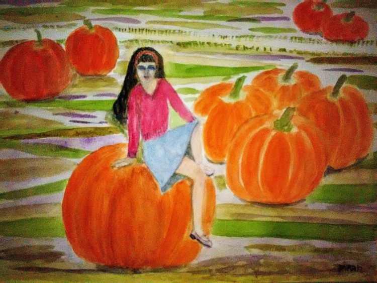 girl and pumpkin Girl On A Pumpkin #Inktober #Inktober2017 #Zensations #Fun&EasyLandscapes @Zebr