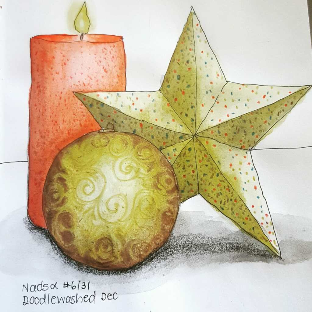 STAR ~ 6/31 @doodlewashed December sketch prompt. Some glittery Xmas decorations. #Doodlewashed #Wor