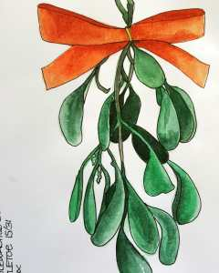 MISTLETOE ~15/31 @doodlewashed December sketch prompt. Another Christmas tradition we don't re