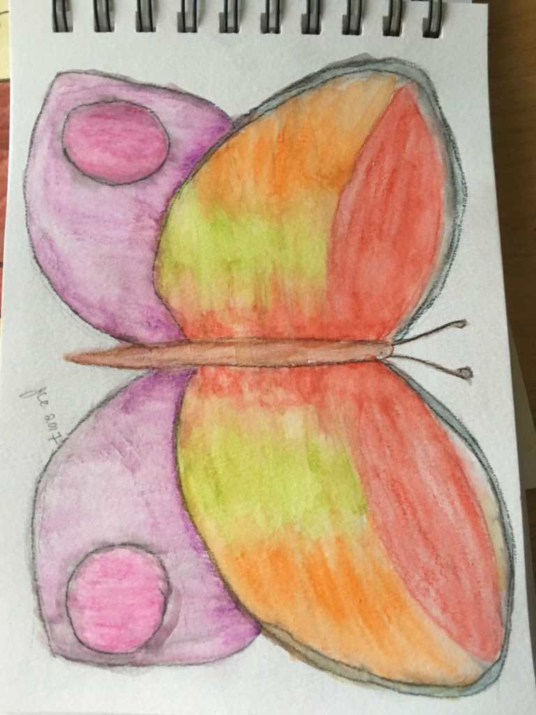 trying different mediums – watercolour pencils, gouache, fine line ink pens and water IMG_2084