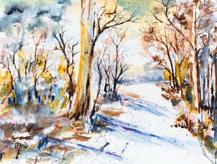 Erster Herbstschnee Aquarell, Büttenpapier, fein, 31cm x 41cm, 300g/m², 100% Baumwolle First Snow