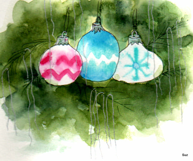 #WorldWatercolorGroup December Challenge Day 17: Ornaments We have some of the fragile, painted glas