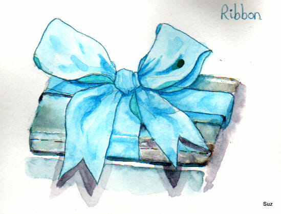 #WorldWatercolorGroup December Challenge Day 10: Ribbon I found the folds in the ribbon challenging,