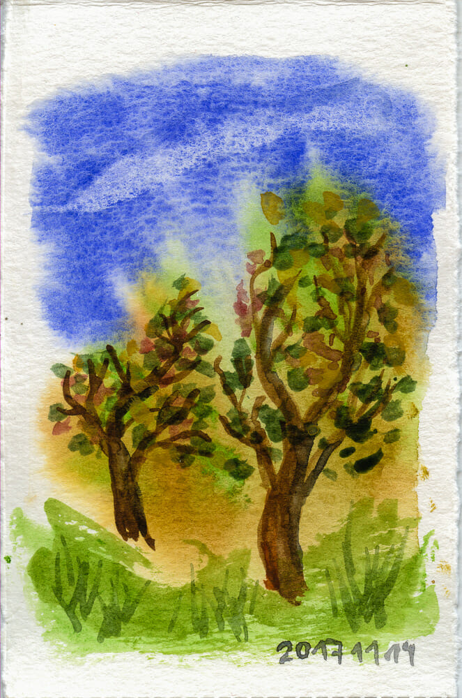 little execise with two tree #WorldWatercolorGrouptwo_trees