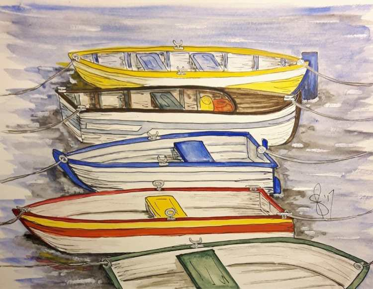 Rowboats. Artist Susan Feniak. Daniel Smith Extra Fine Watercolors on Strathmore paper. 9″x12&