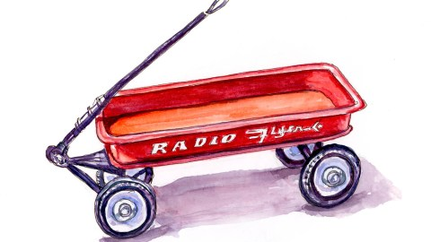 #WorldWatercolorGroup - Day 11 - A Little Red Wagon - Doodlewash