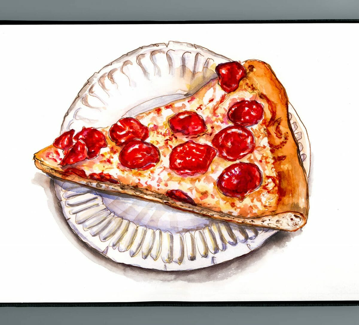 #WorldWatercolorGroup - Day 30 - Pizza Party Pepperoni - Doodlewash