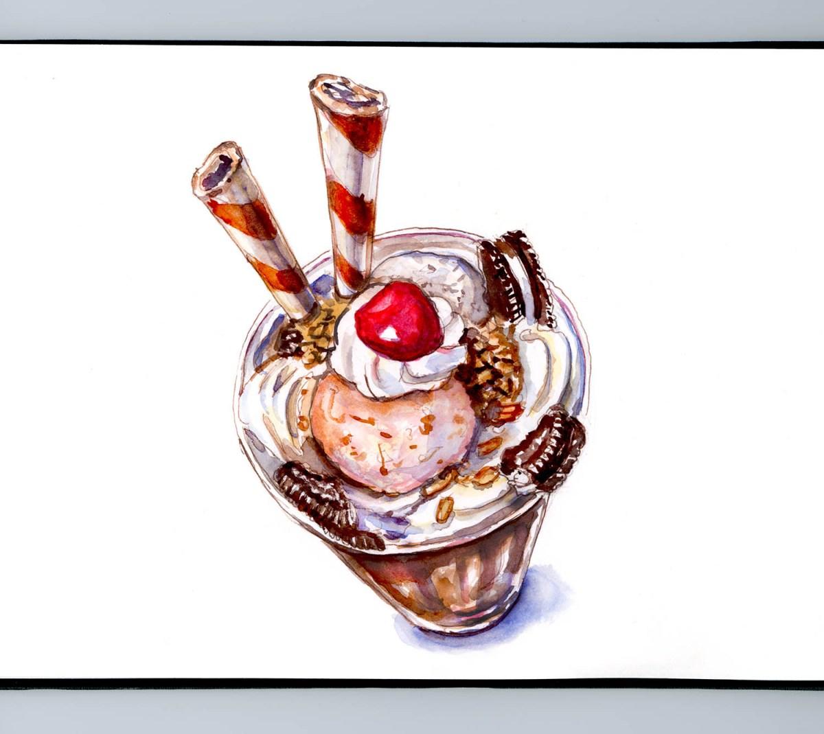 #WorldWatercolorGroup - Day 5 - Hot Fudge Sundae Oreo Cookie - Doodlewash