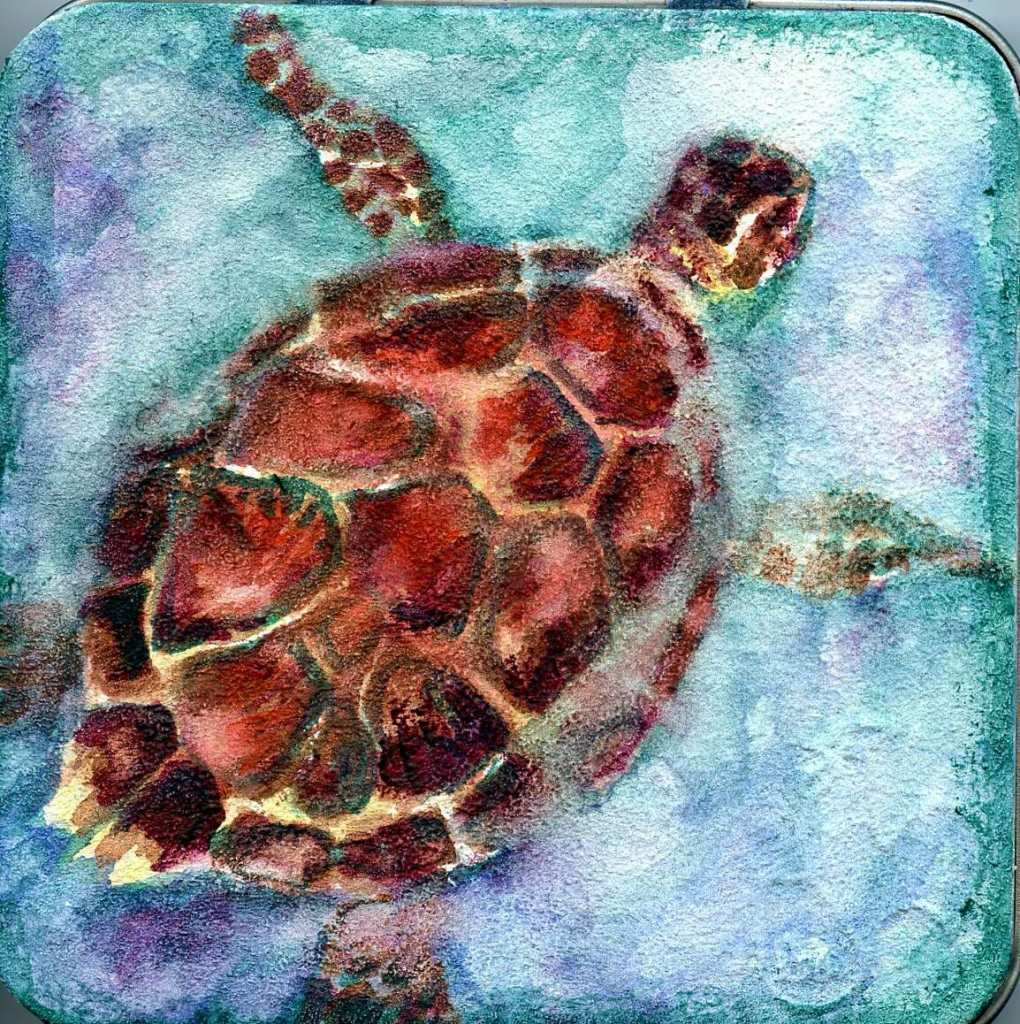 Turtle Traveling-This is the lid to another Hahnemühle Youtangle.Art Tile Tin that I've conve