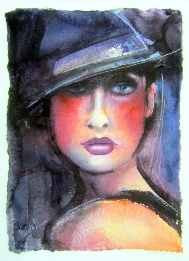 Portrait of a Girl with a Hat no. 2, watercolor on Khadi 640 gsm paper, 31 x 42 cm (painted in Janua