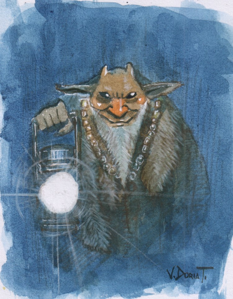 a little watercolor of a Muki, according to the miths, spirit or demon of the Andean mines. 🙂 muk