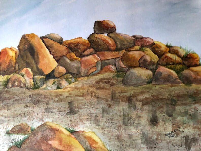 I need to learn to paint rocks. This is my first rock study. I realized I love Burnt Sienna and New