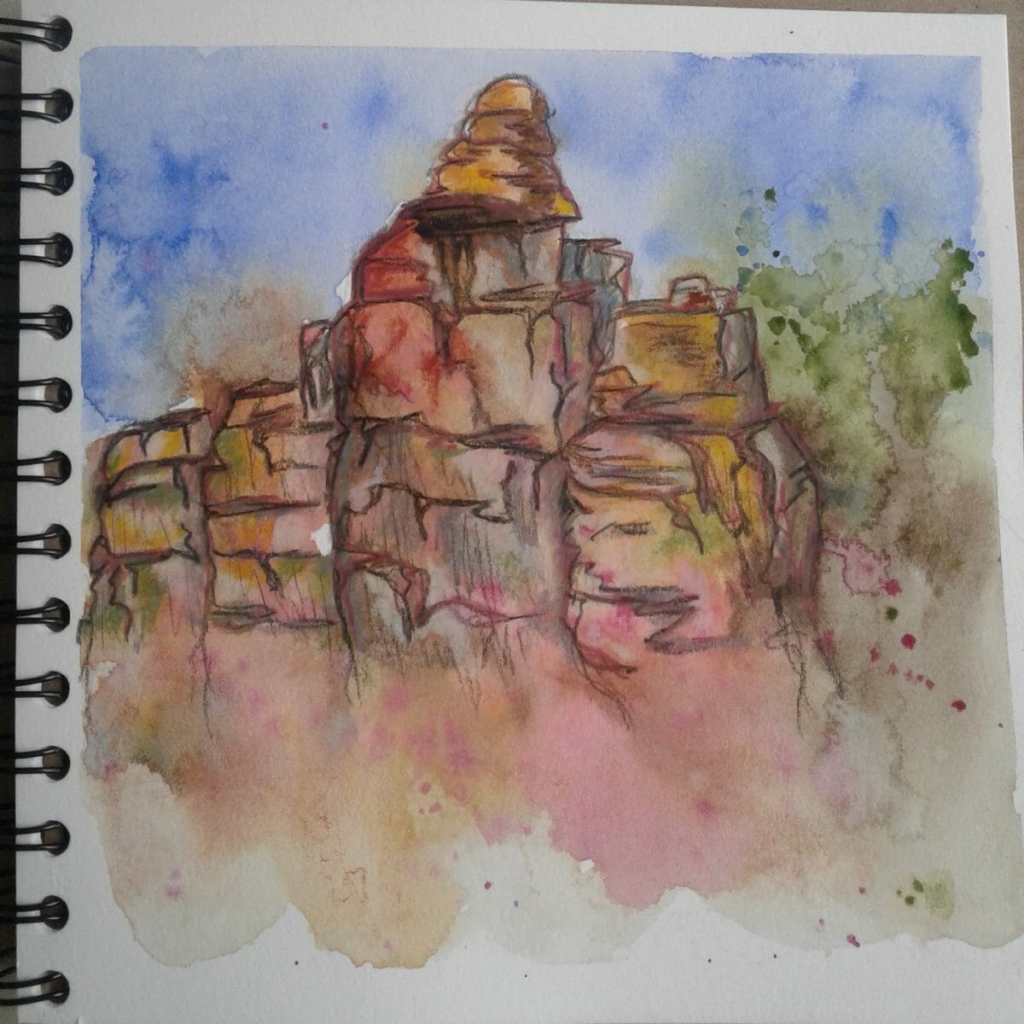 Day 220…rocks I may have had bit too much fun with this one. First in laying down the watercol