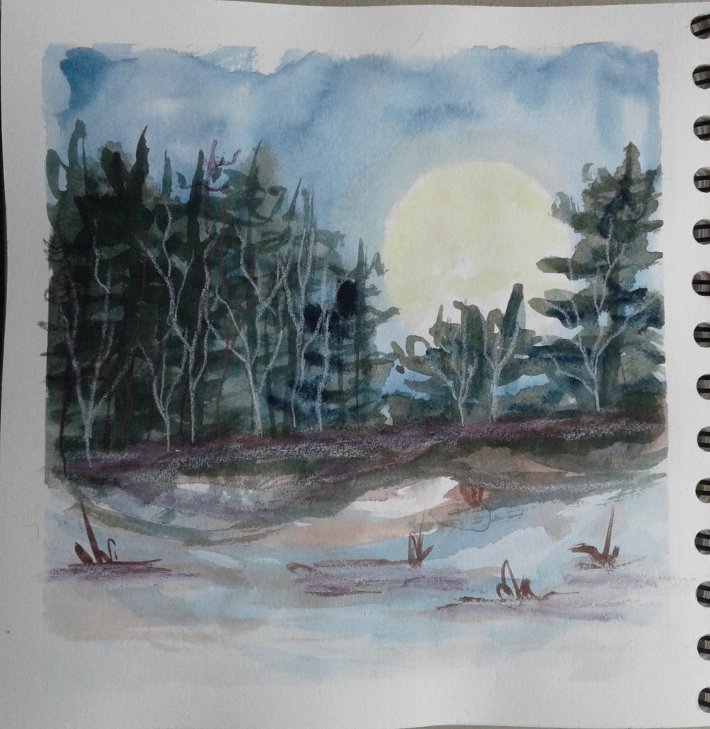 Day 230…trees Yesterday I watched a short tutorial over at scratch made journal's blog.