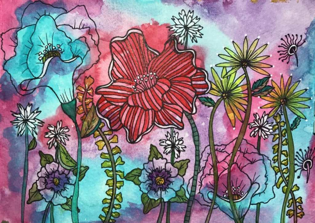 I used Schmincke watercolors, then tangled with a Sharpie Fineliner and added highlights with a Uni-