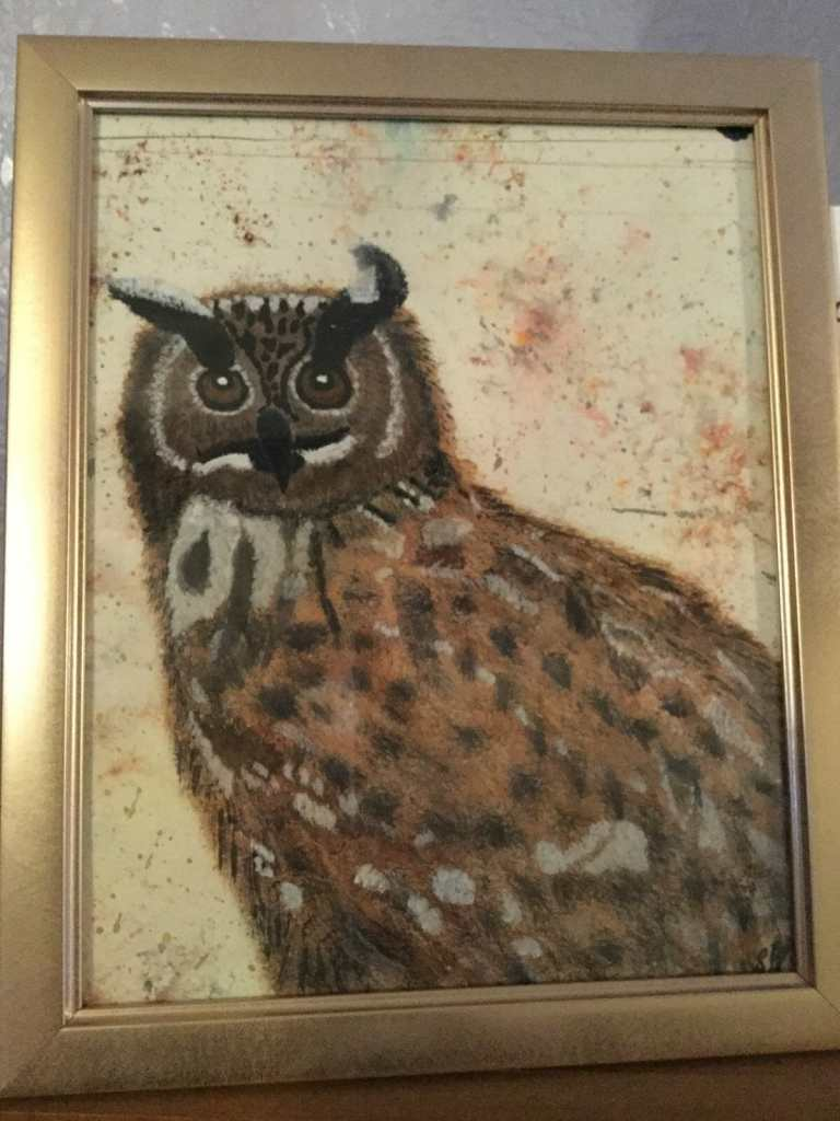 Water colour Owl on dry, for my Husbands present, hence why the g pattern under the neck was left cl