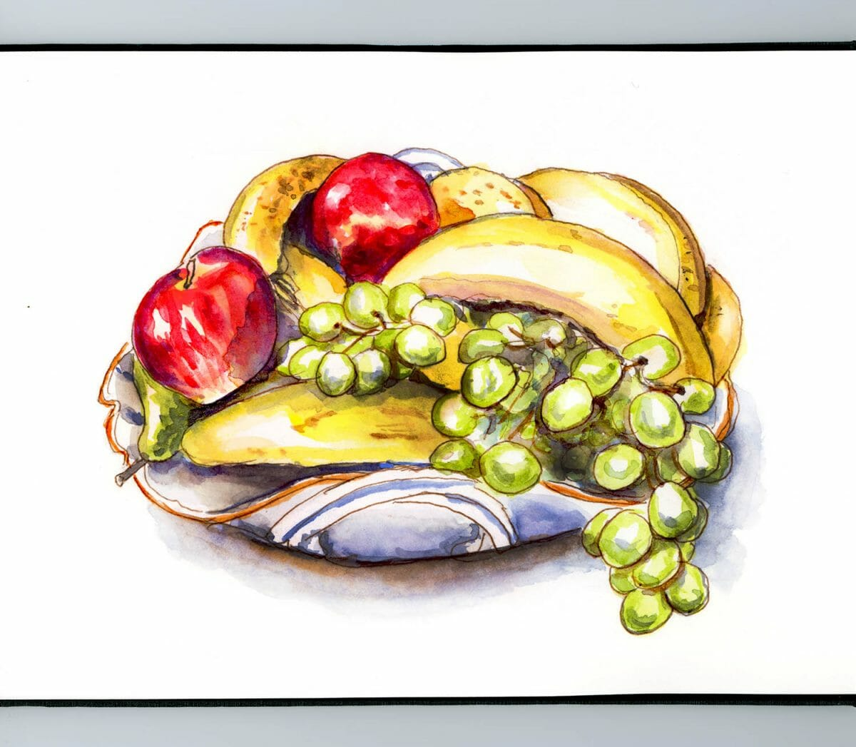 #WorldWatercolorGroup - Day 3 - Fruits Still LIfe - Doodlewash