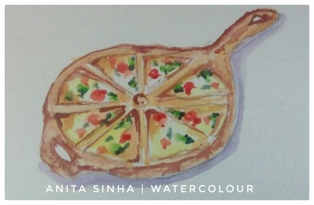 #Day30 #Pizza #Januaryartchallenge2018 #Doodlewash #worldwatercolorgroup #watercolor #watercolour IM